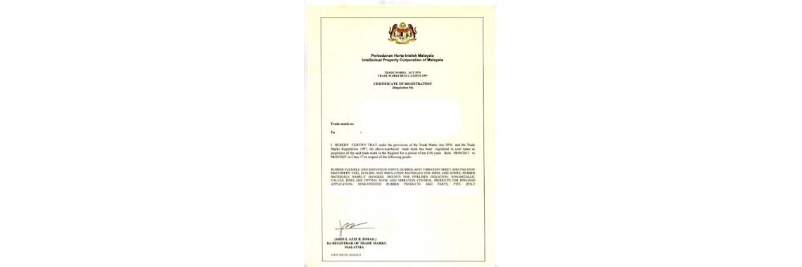 Malaysia Trademark Registration Certificate Malaysia