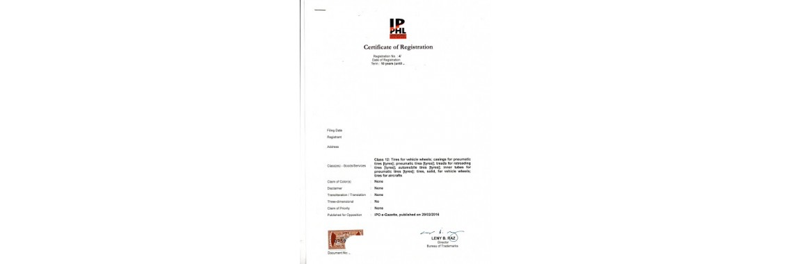 Philippines Trademark Registration Certificate Philippines