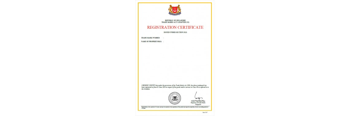 Singapore Trademark Registration Certificate Singapore