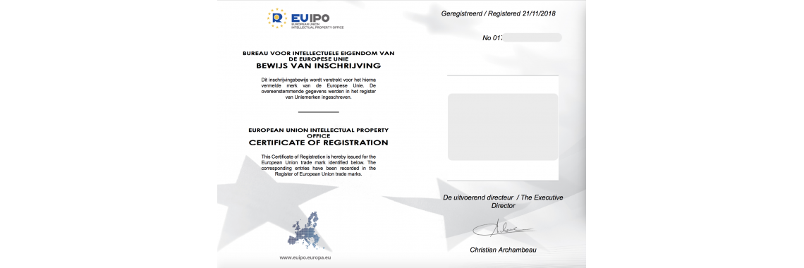 European Union EU Trademark Registration Certificate EU