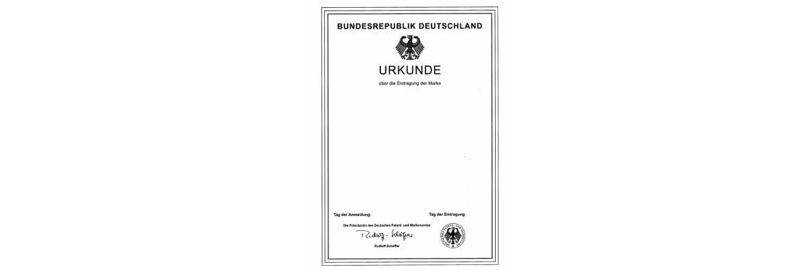 Germany Trademark Registration Certificate Germany