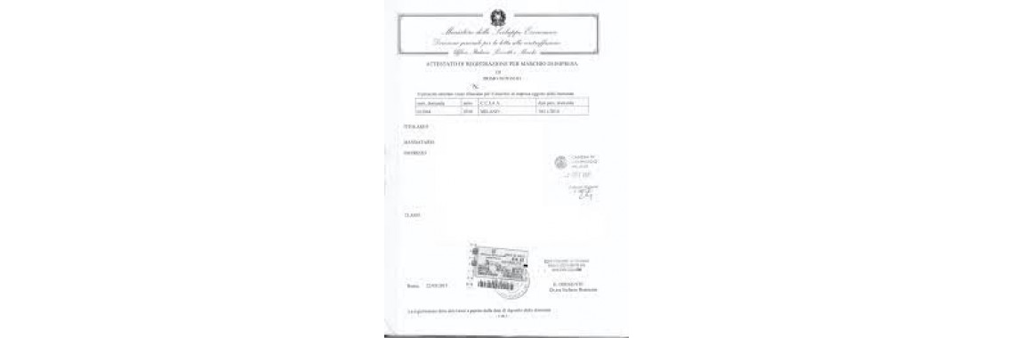Italy Trademark Registration Certificate Italy