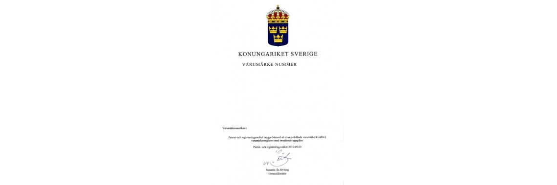 Sweden Trademark Registration Certificate Sweden
