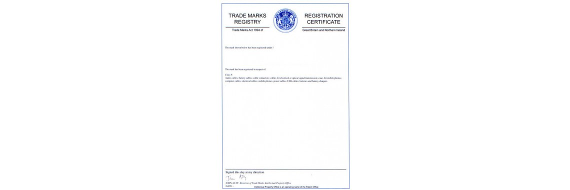 United Kingdom UK Trademark Registration Certificate  UK