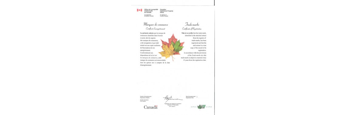 Canada Trademark Registration Certificate Canada