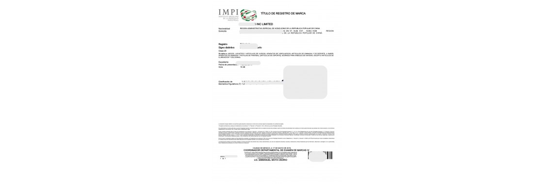 Mexico Trademark Registration Certificate Mexico
