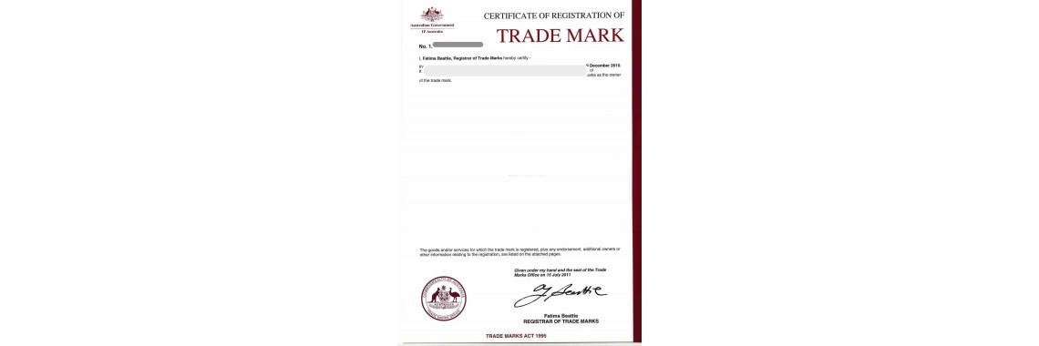 Australia Trademark Registration Certificate Australia