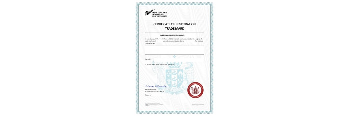 New Zealand Trademark Registration Certificate New Zealand